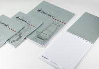 Форматы А4, А5,обложка из дизайнерской бумаги с полноцветной печатью, скрепление на пружину